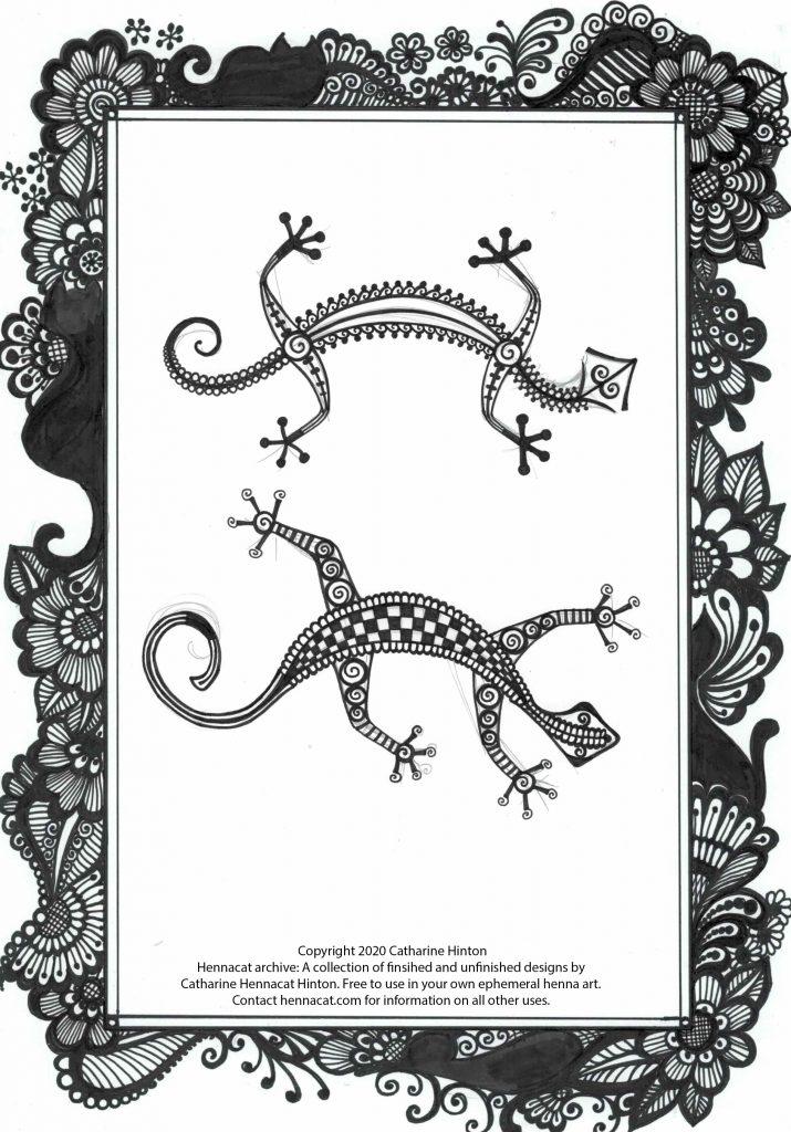 free henna design - more lizards